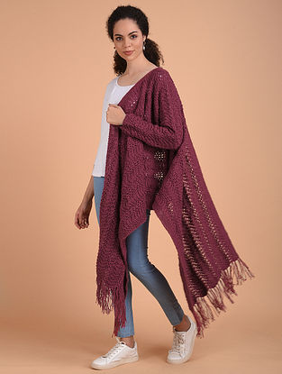 Pink Hand Knitted Wool Cape