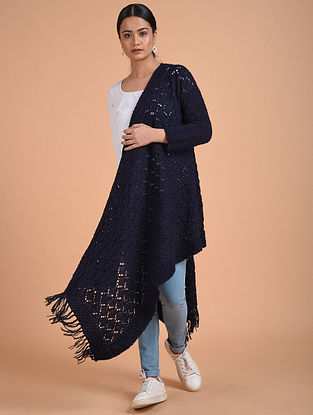 Navy Blue Hand Knitted Wool Cape