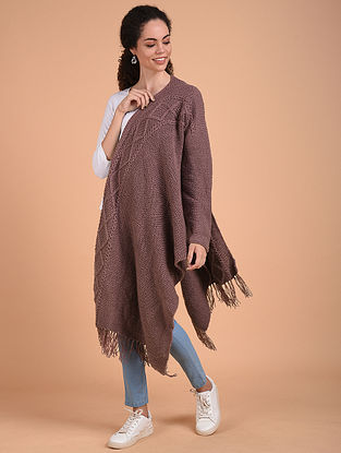 Mauve Hand Knitted Wool Cape