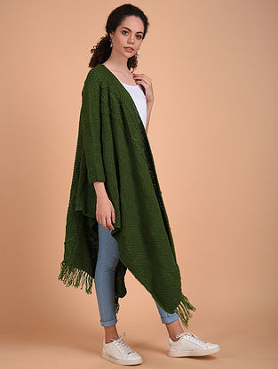 Green Hand Knitted Wool Cape