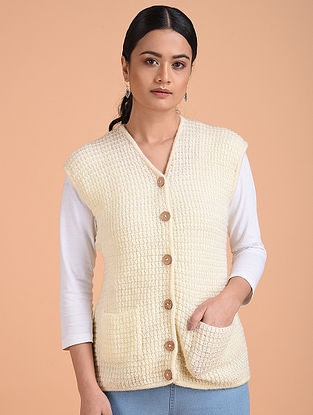 Off white Hand Knitted Wool Sleeveless Cardigan