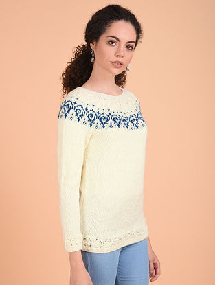Off White-Blue Hand Knitted Wool Pullover