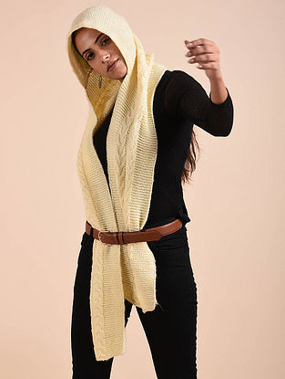Cream Hand Knitted Wool Stole with Hood Cap
