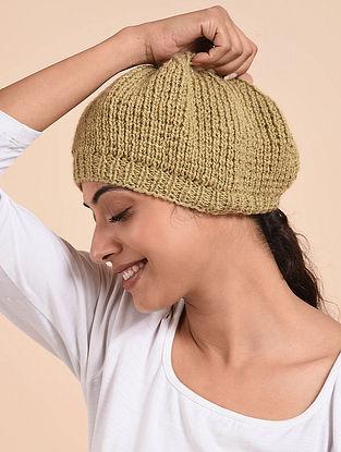 Beige Hand Knitted Wool Beret