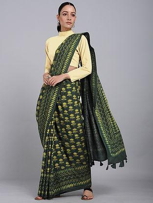 Green-Yellow Dabu-printed Natural-dyed Cotton Saree