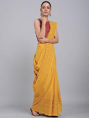 Yellow Dabu-printed Natural-dyed Cotton Saree
