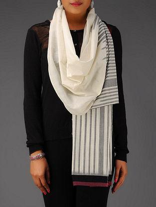 Ivory-Grey-Black-Maroon Ikat Cotton Stole