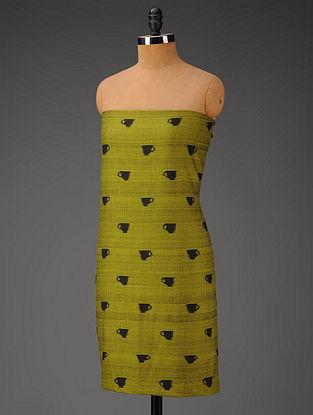 Olive Green-Black Ikat Cotton Fabric
