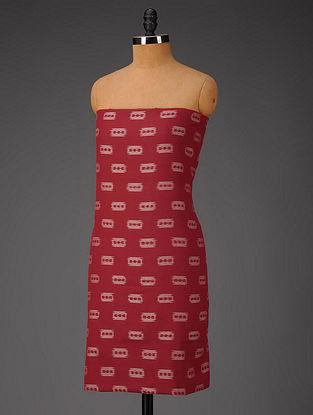 Red-Ivory Blade Motifs Ikat Cotton Fabric