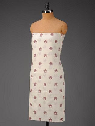 Ivory-Pink Hut Motifs Ikat Cotton Fabric
