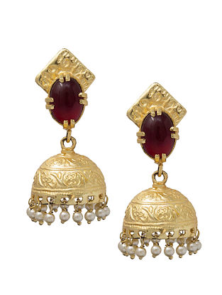 Maroon Gold Plated Handcrafted Jhumki Earrings with Pearls