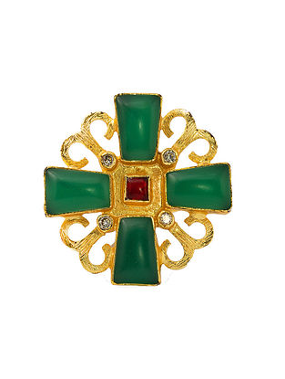 Red Green Gold Plated Handcrafted Adjustable Ring