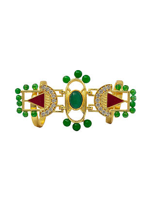 Green Red Gold Plated Handcrafted Adjustable Ring