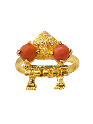 Orange Gold Plated Handcrafted Adjustable Ring