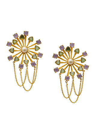 Purple Green Gold Plated Handcrafted Earrings with Pearls
