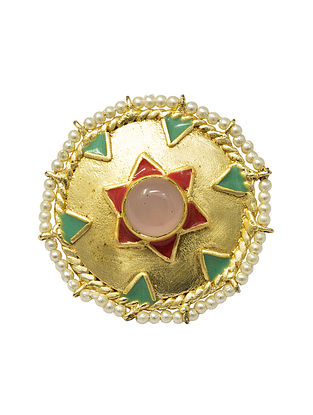 Multicolored Gold Plated Handcrafted Adjustable Ring with Pearls
