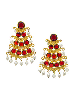 Red Gold Plated Handcrafted Jhumki Earrings with Pearls
