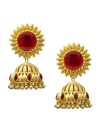 Red Gold Plated Handcrafted Jhumki Earrings
