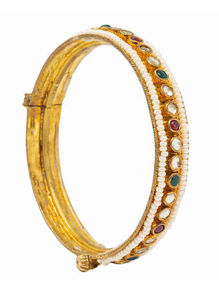 Green Maroon Gold Plated Silver Hinged Bangle with Pearls (Bangle Size: 2/4)