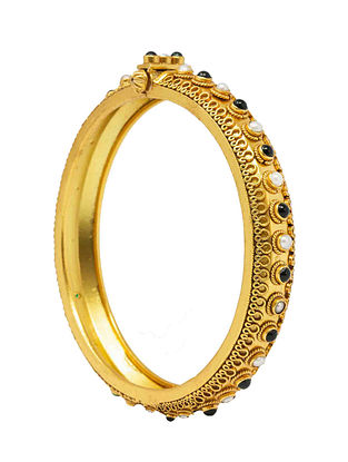 Green Gold Plated Silver Hinged Bangle with Pearls (Bangle Size: 2/4)