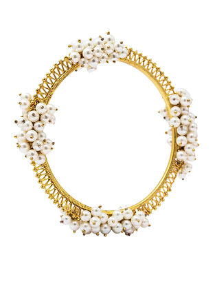 Gold Plated Silver Bangle with Pearls (Bangle Size: 2/6)