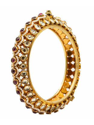 Maroon Gold Plated Kundan Silver Hinged Bangle with Pearls (Bangle Size: 2/4)
