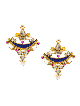 Pink Blue Gold Plated Kundan Silver Earrings with Pearls