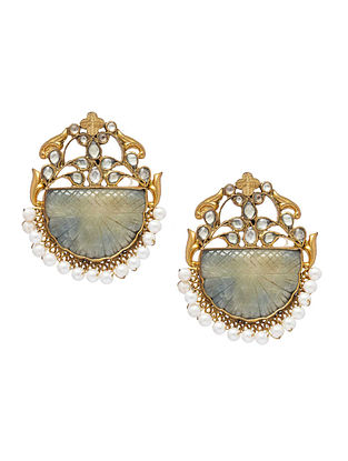 Grey Gold Plated Kundan Silver Earrings with Pearls