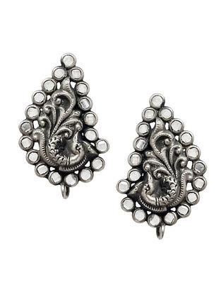 Crystal Tribal Silver Earrings with Peacock Motif
