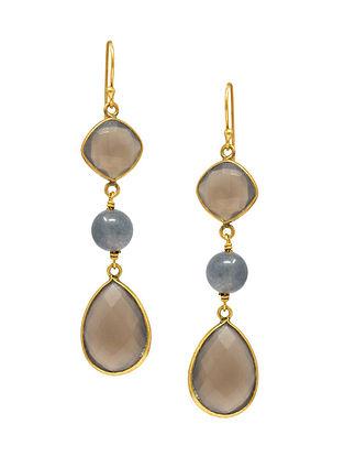 Purple Gold Plated Silver Earrings
