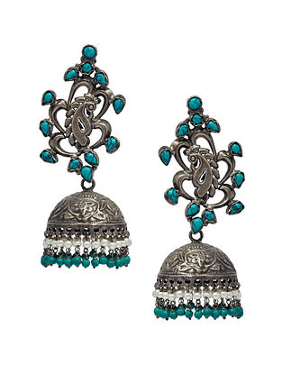 Tribal Silver Jhumki Earrings with Turquoise and Pearls