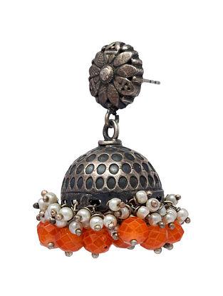 Orange Tribal Silver Jhumki Earrings with Pearls