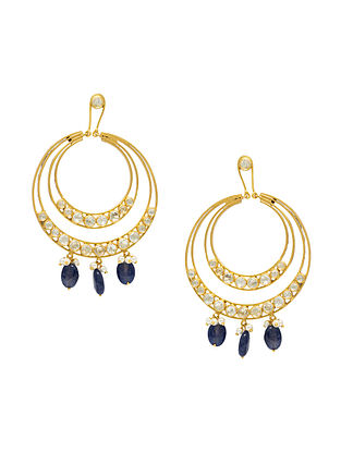 Gold Plated Silver Earrings with Blue Onyx