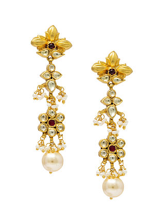 Maroon Gold Plated Kundan Silver Earrings with Pearls