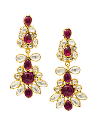 Maroon Gold Plated Kundan Silver Earrings