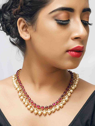 Maroon Gold Plated Silver Necklace with Pearls