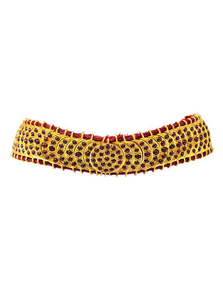 Maroon Antique Gold Plated Silver Necklace