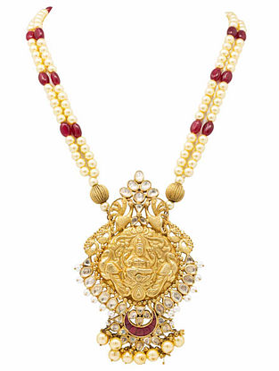 Maroon Gold Plated Kundan Silver Necklace with Pearls