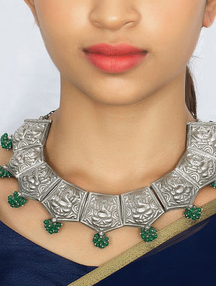 Green Silver Necklace with Lord Ganesha Motif