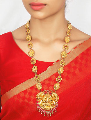 Maroon Green Gold Plated Silver Necklace with Deity Motif