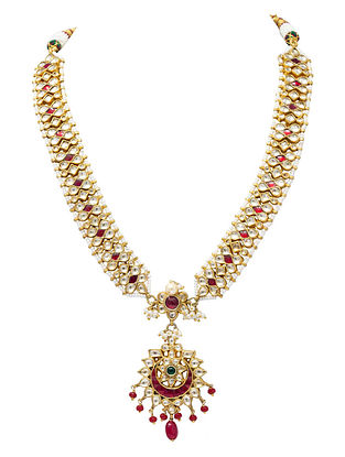 Maroon Green Gold Plated Kundan Silver Necklace with Pearls