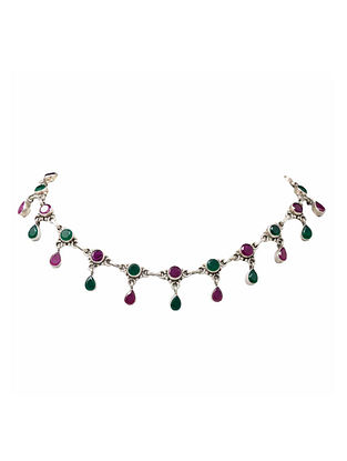 Maroon Green Silver Necklace
