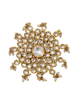Gold Plated Kundan Silver Adjustable Ring with Pearls