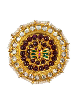 Maroon Green Gold Plated Kundan Silver Adjustable Ring with Pearls