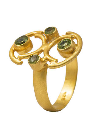 Green Gold Plated Handcrafted Adjustable Ring