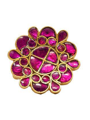 Pink Meenakari Gold Plated Silver Adjustable Ring