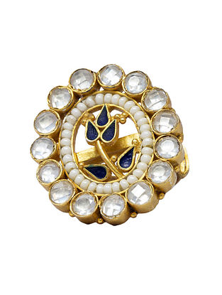 Blue Gold Plated Kundan Silver Adjustable Ring with Pearl