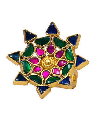Multicolored Gold Plated Silver Adjustable Ring