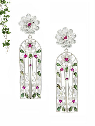 Pink Green Handcrafted Silver Earrings
