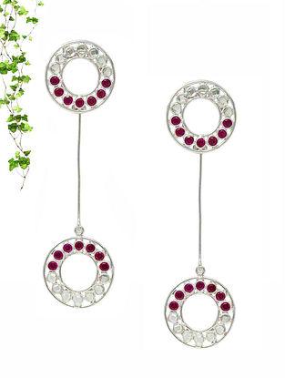 Maroon Handcrafted Silver Earrings
